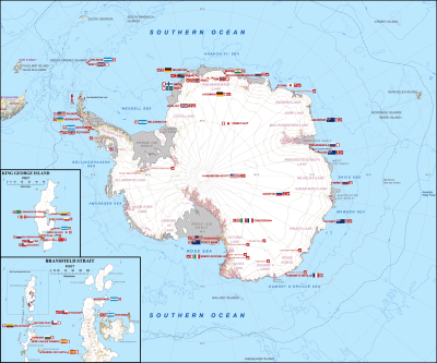 Map of Antarctic stations - Halley VI is near the coast of the Weddell Sea (Source: Teetaweepo/Wikipedia)