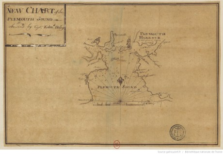 Manuscript version of the inset map of Plymouth Sound. The handwriting isn't Halley's hand, so was presumably made by another under his direction (@ Biblithèque Nationale de France, Image No xx)